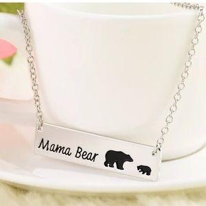 3/$25 Mama bear one baby bear silver necklace